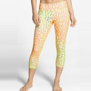 Zella Neon Leopard Printed Cropped Leggings XS